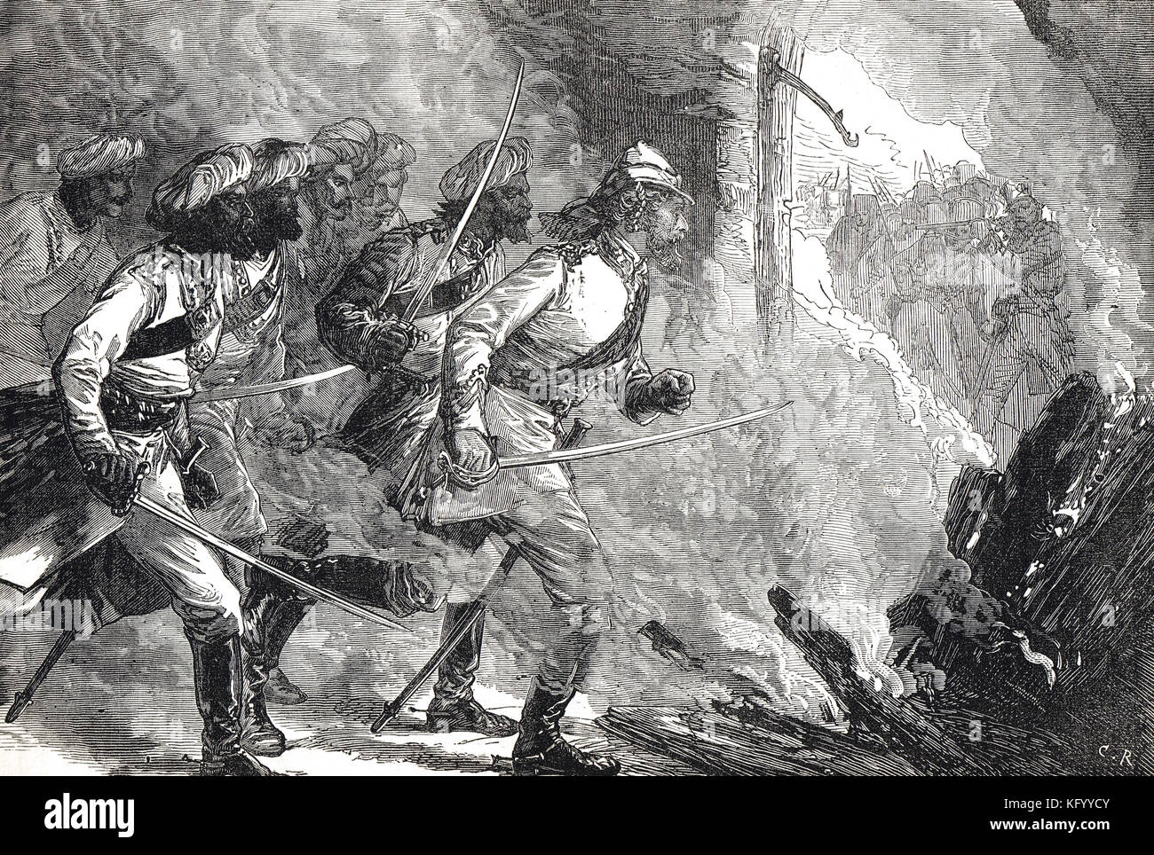 Lieutenant William Alexander Kerr's attack on a mutineers stronghold at Kolapore, India, 10 July 1857 - Stock Image