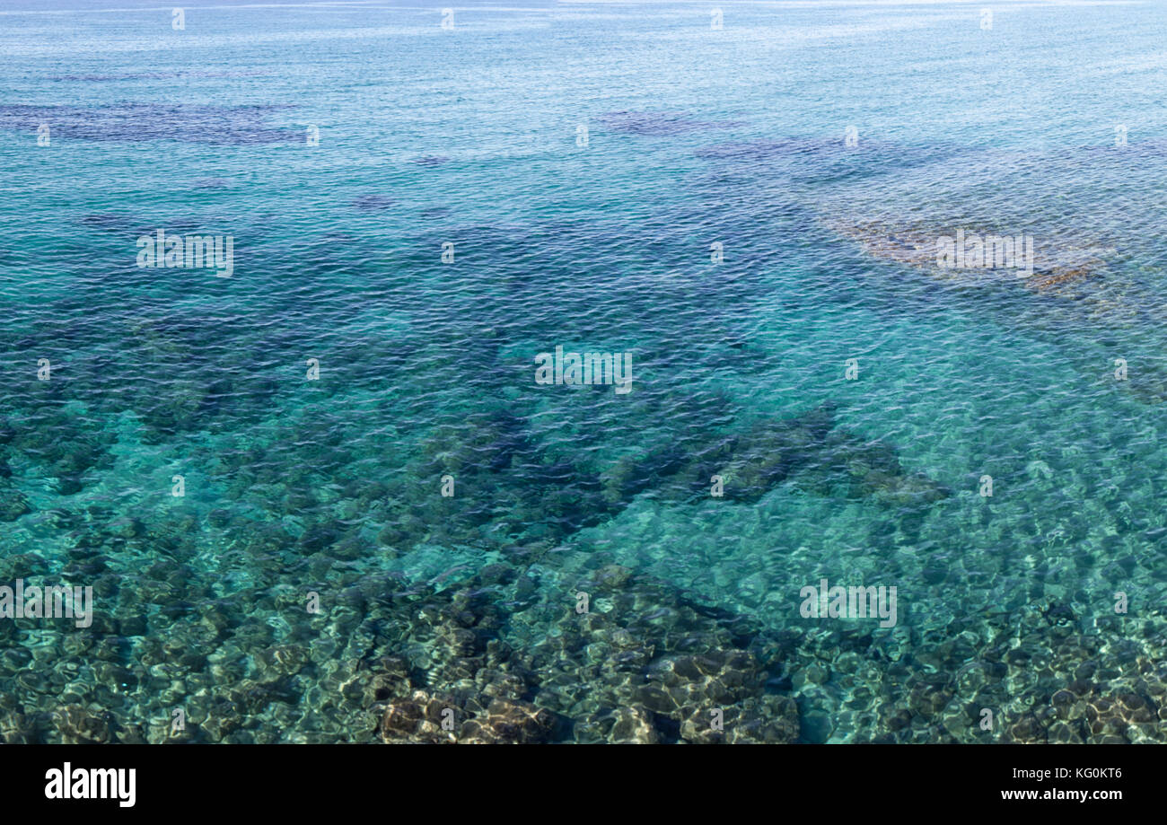 The deep blue and turquoise Ionian Sea, part of the Mediterranean Sea. Incredible colors of water. - Stock Image