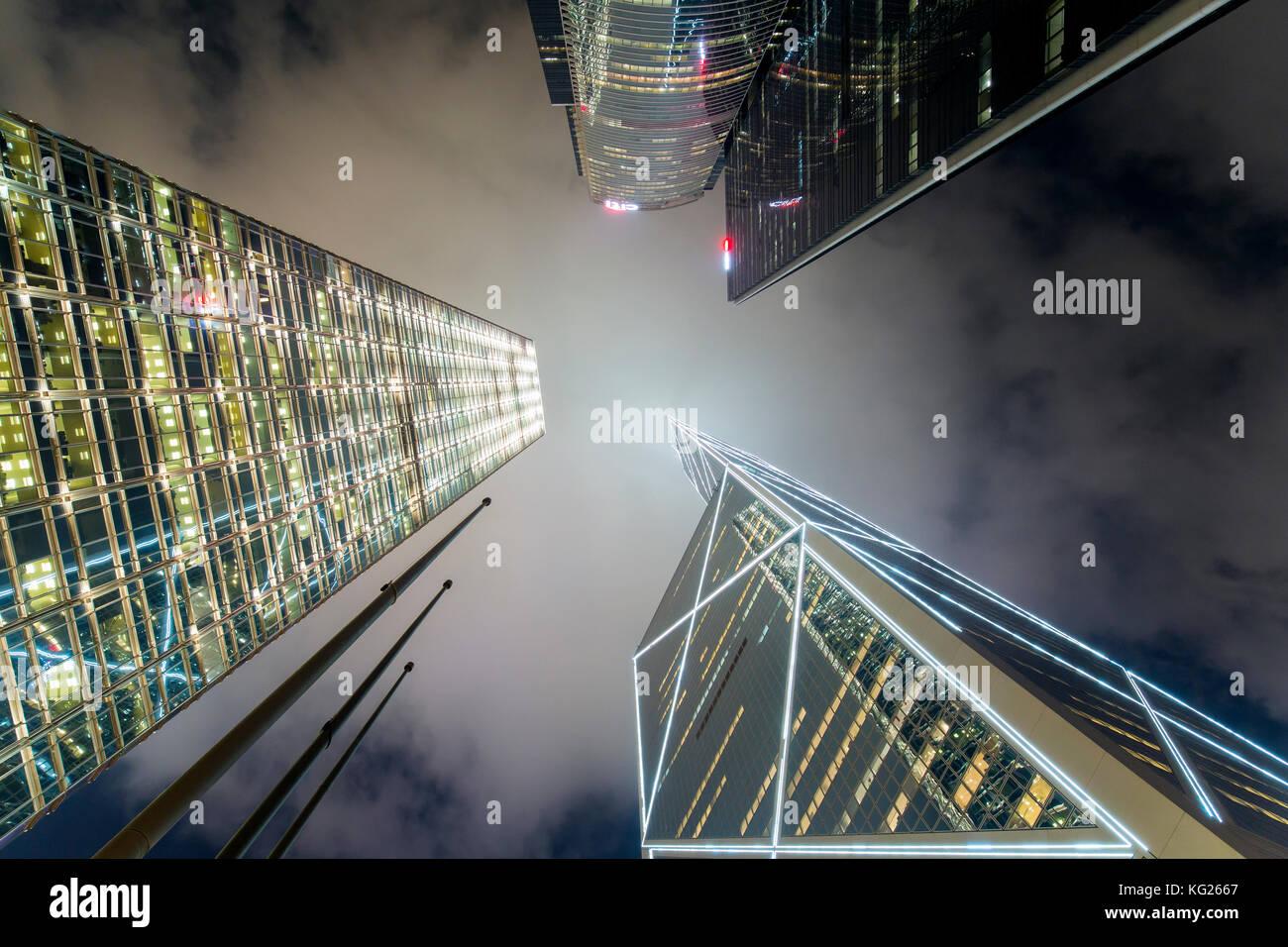 Low angle view of skyscrapers in Central, Hong Kong Island, Hong Kong, China, Asia Stock Photo