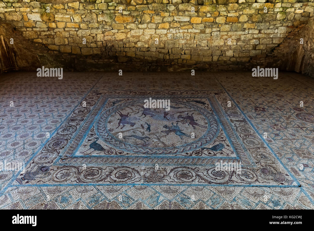 Ancient Roman mosaic in Conimbriga, one of the largest and the best preserved Roman settlements excavated in Portugal - Stock Image