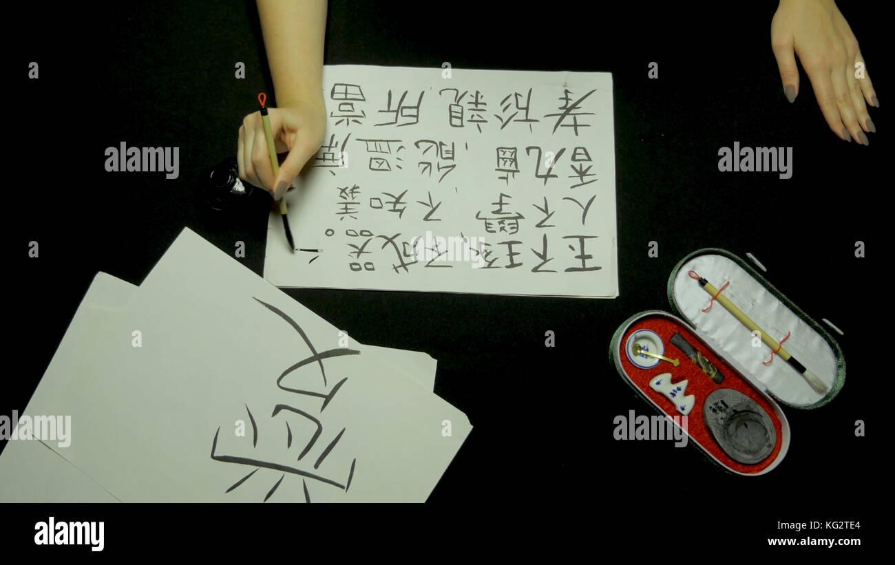 chinese calligraphy writing and brush painting