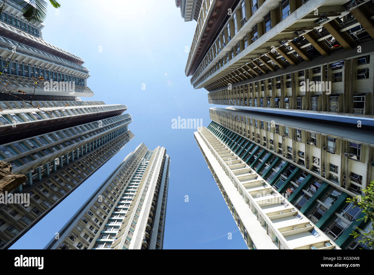 High residential towers in the South Horizons complex on Ap Lei Chau island in Hong Kong. - Stock Image