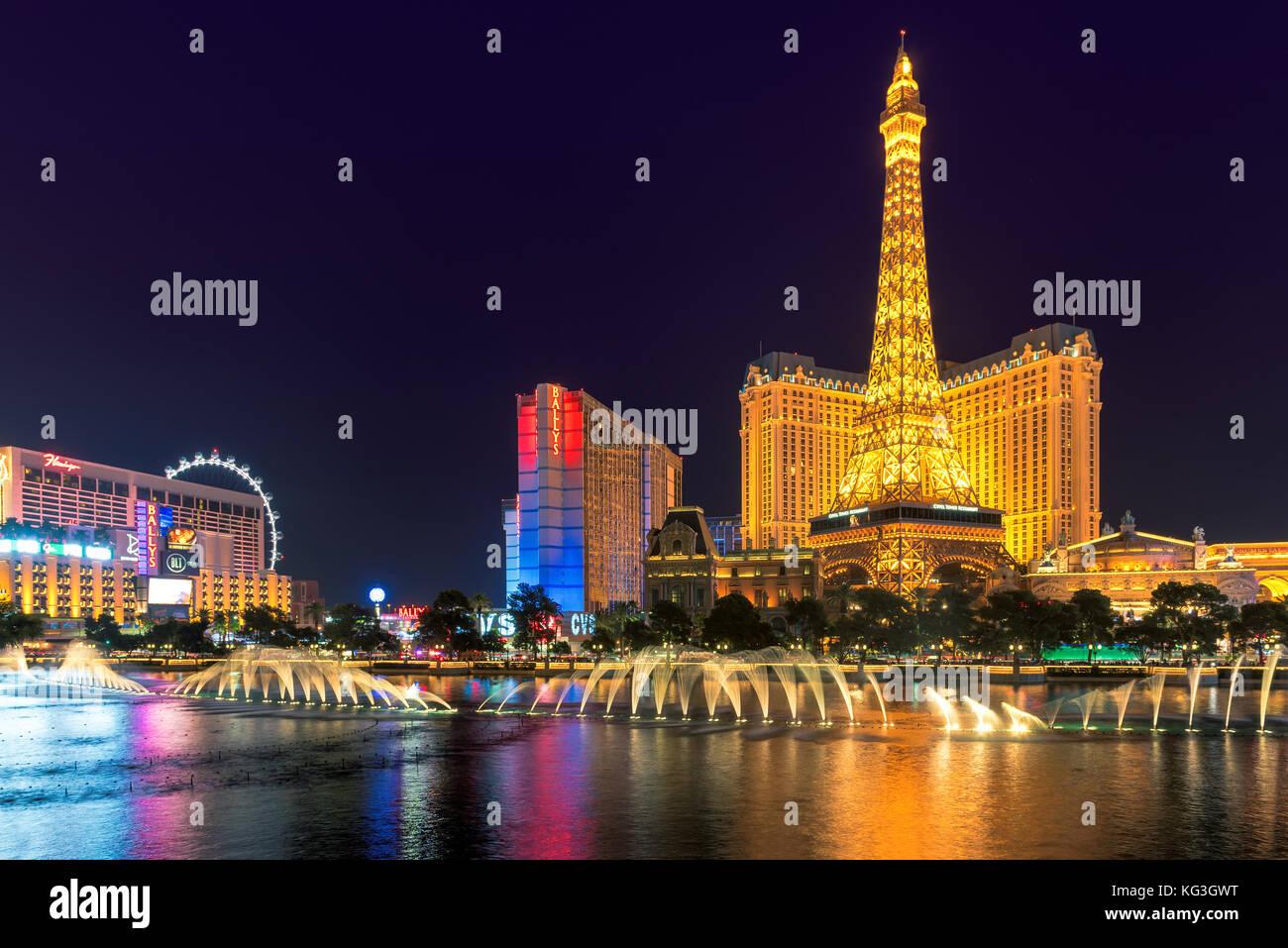 Las Vegas Strip at night - Stock Image