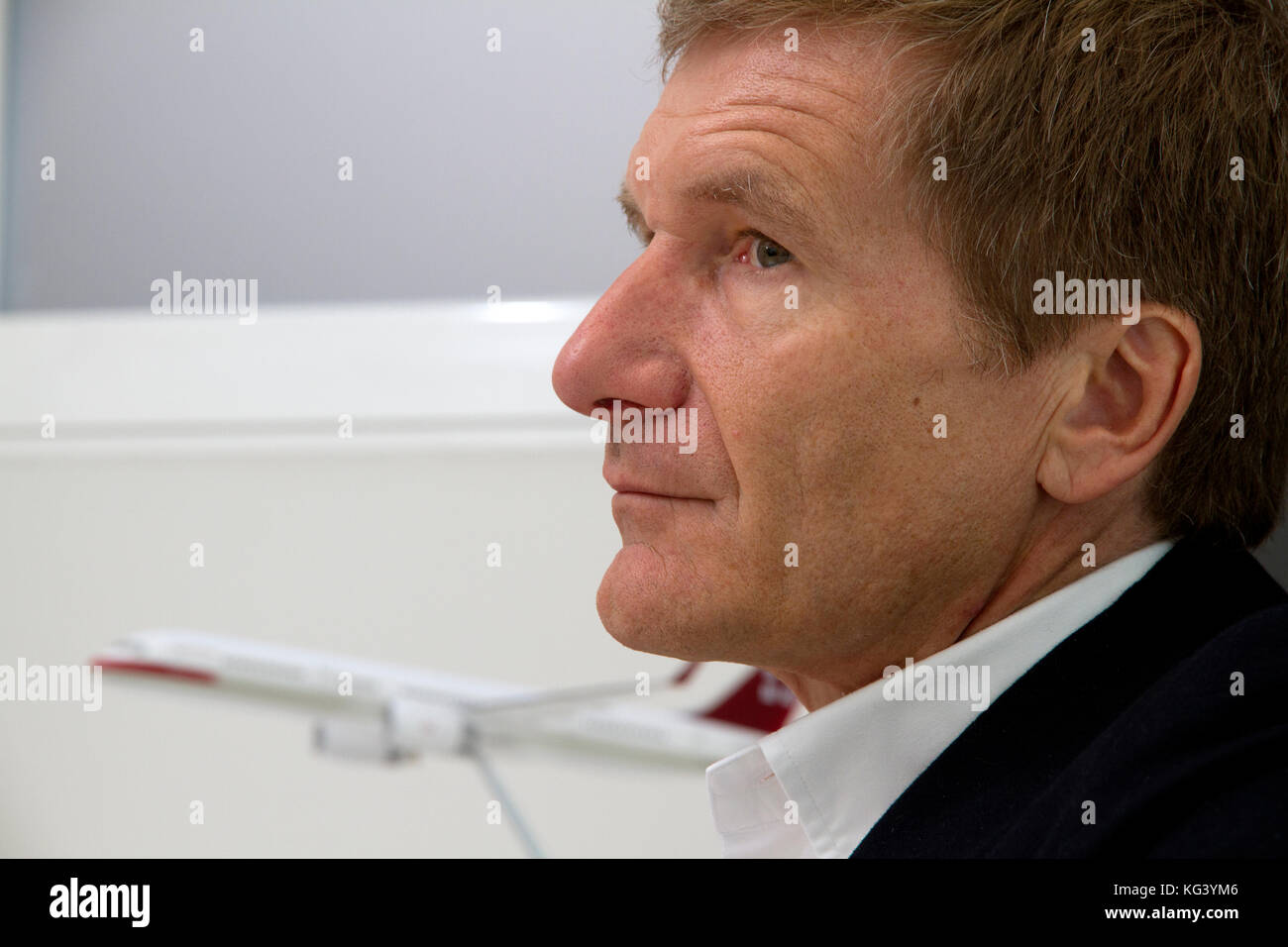 Ex Formule 1 coureur Thierry Boutsen in his office in Monaco Ville - Stock Image