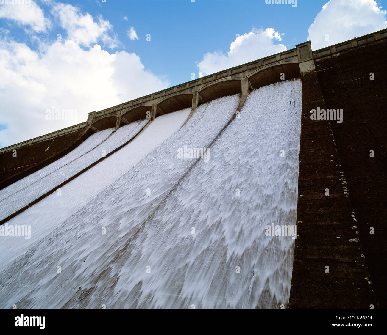 Channel Islands, Guernsey. St. Saviour's Dam. Close up of overflow from below. - Stock Image