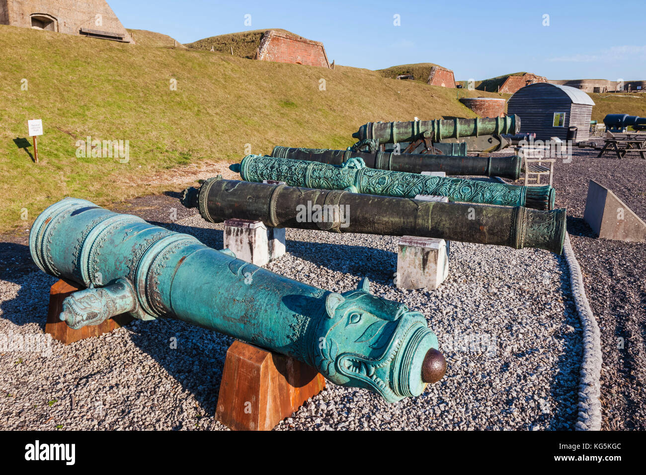England, Hampshire, Portsmouth, The Royal Amouries Military Museum Fort Nelson, Display of Asian Guns - Stock Image