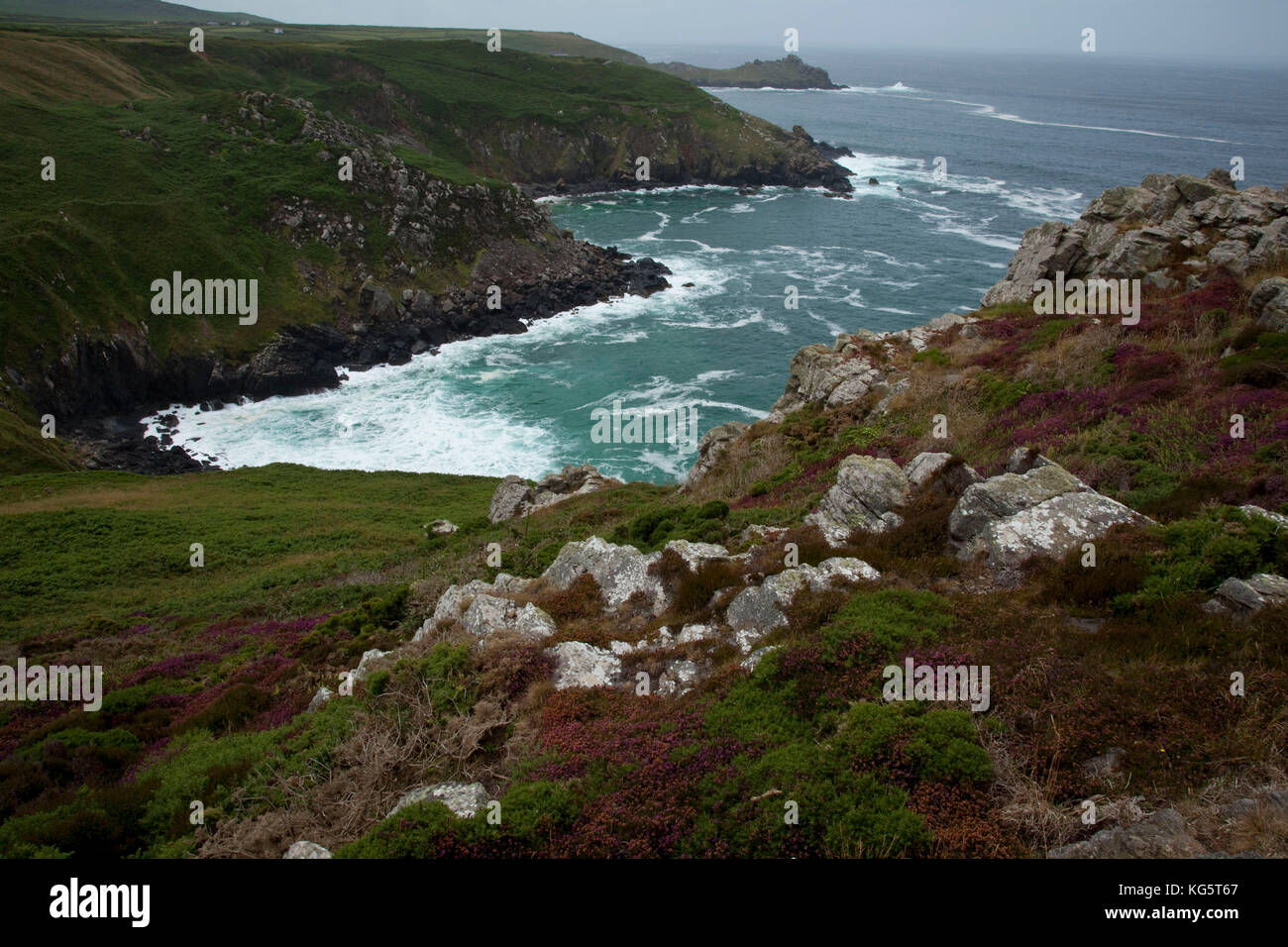A cove along the National South West Coastal Path above Zennor in Cornwall, England. - Stock Image