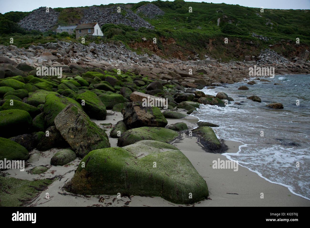 The English countryside meets the sea in Lamorna Cove, Cornwall. - Stock Image
