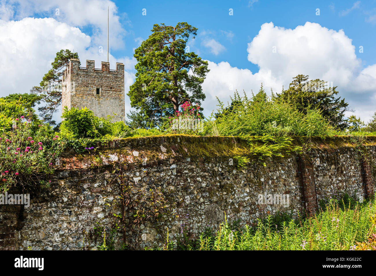 Great Tower and walled garden, Greys Court, Oxfordshire, UK - Stock Image