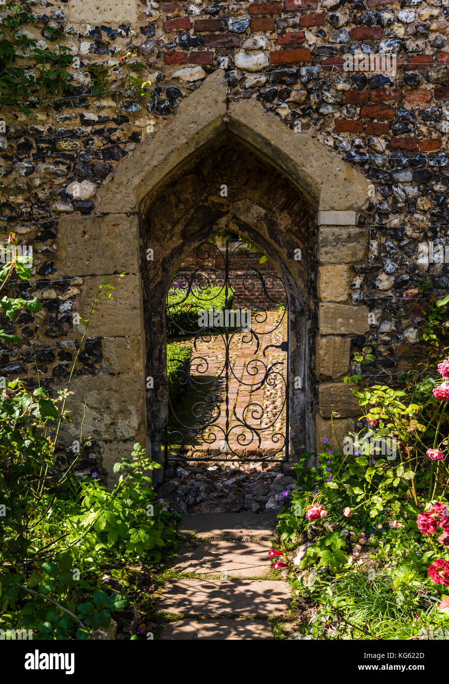 Gate in the walled gardens, Greys Court, Oxfordshire, UK - Stock Image