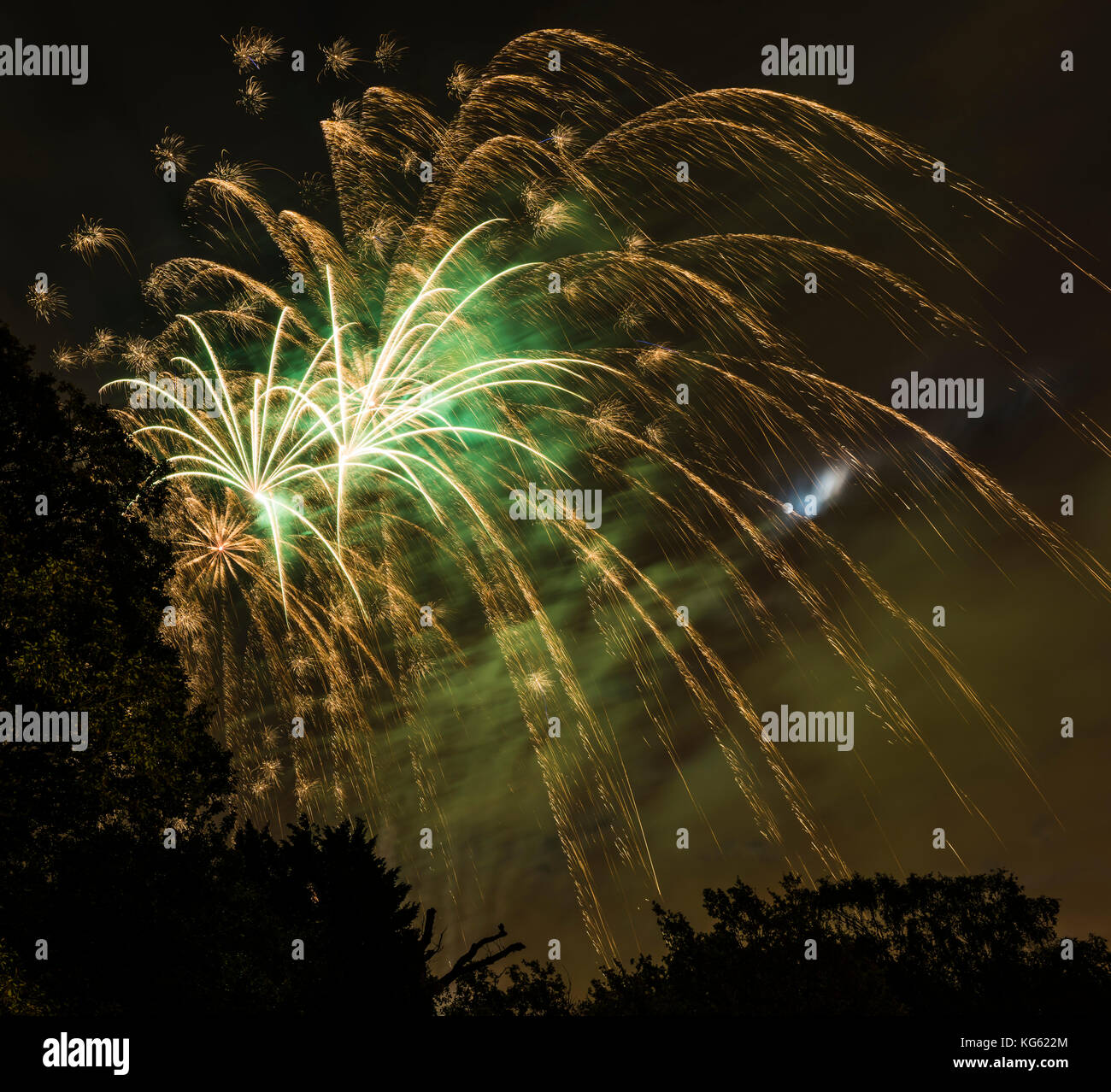 Fireworks and full moon on Bonfire Night, north London, UK - Stock Image