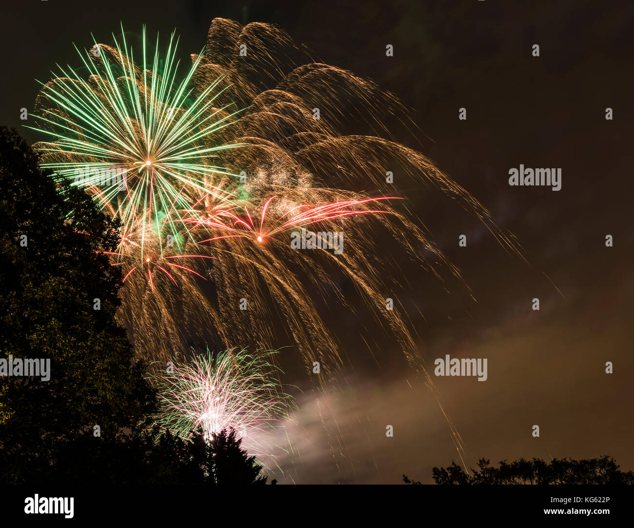 Fireworks and smoke on Bonfire Night, north London, UK - Stock Image