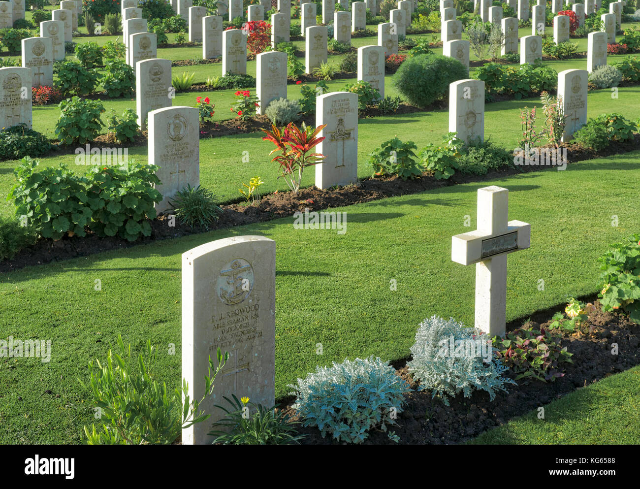 Cairo, Egypt - December 7, 2016: Heliopolis Commonwealth War Cemetery, contains 1742 burials of the Second World - Stock Image