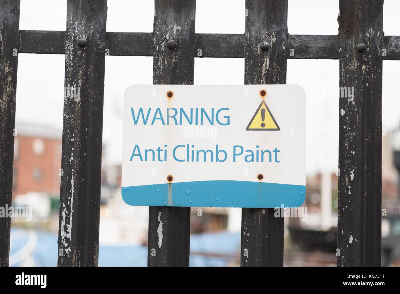 Anti Climb Paint - Stock Image