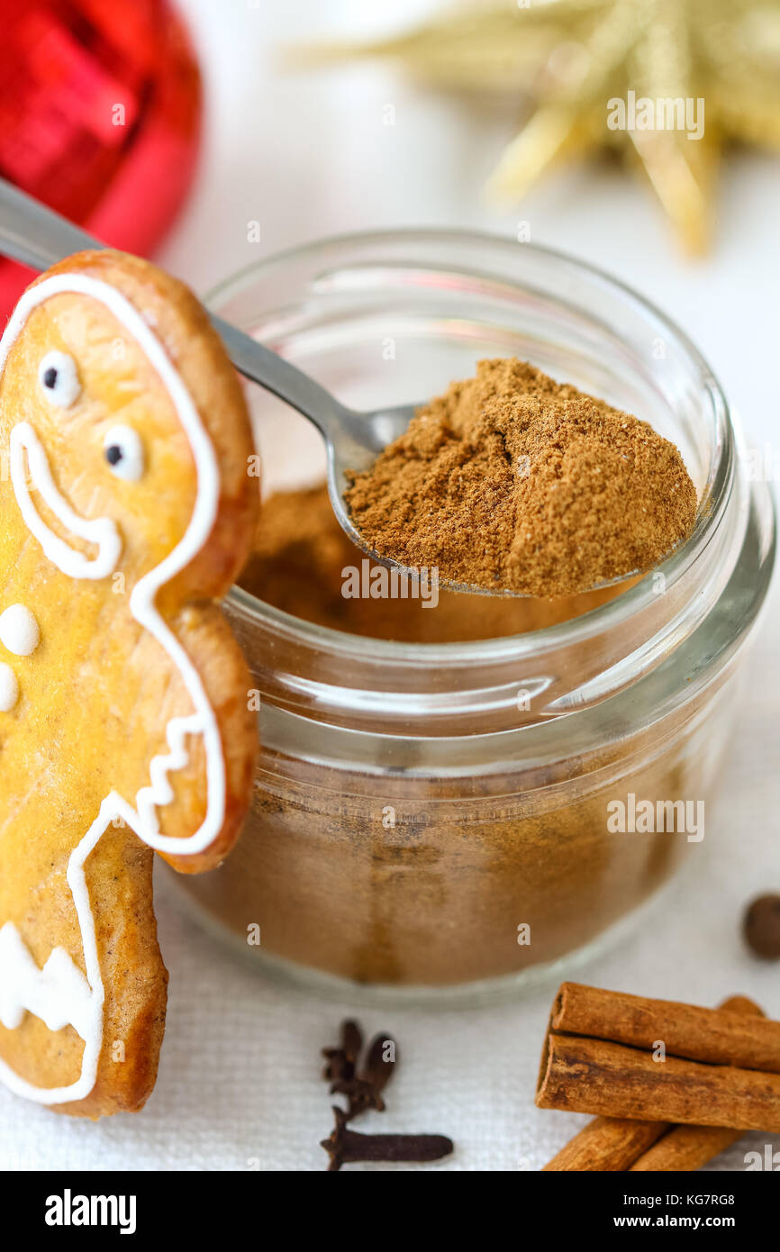 Homemade Gingerbread Spice Mix - Edible Holiday Gift - Stock Image