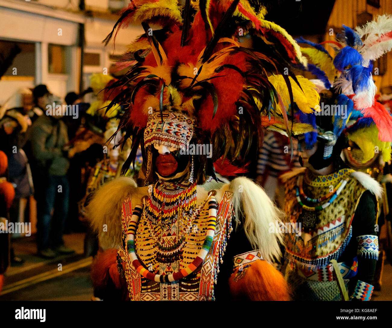 Lewes, UK - 4 November 2017: Participants from Borough Bonfire Society at Lewes Bonfire night, wearing Zulu costumes - Stock Image