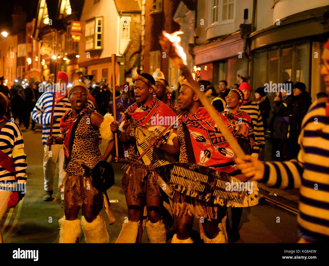 Lewes, UK - 4 November 2017:  Participants from Borough Bonfire Society at the 2017 Lewes Bonfire night, wearing - Stock Image