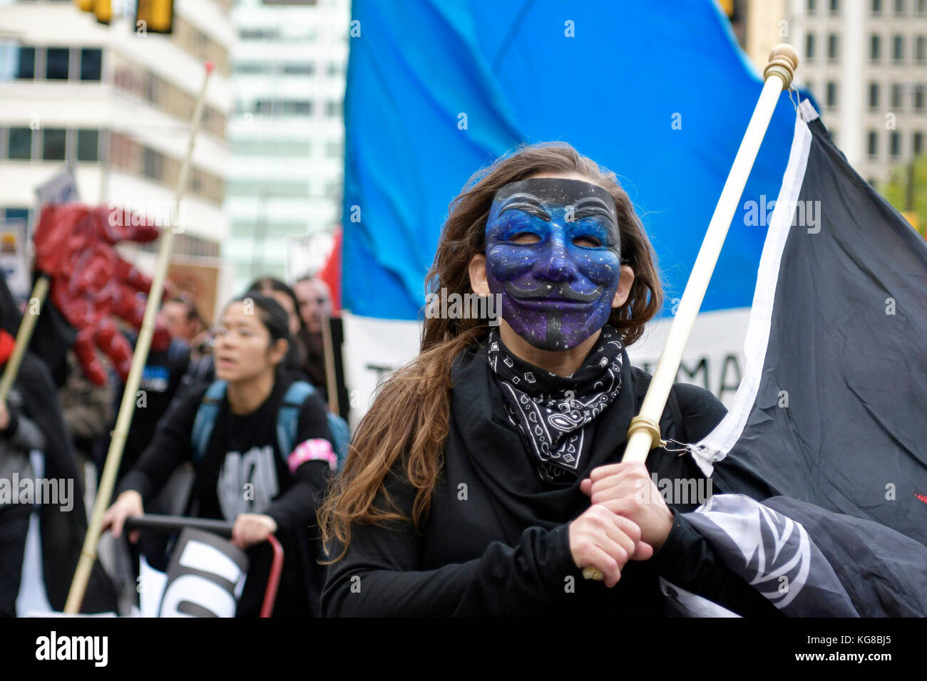 Philadelphia, United States. 04th Nov, 2017. Protestors take the Center City streets during a Refuse Fascism march - Stock Image