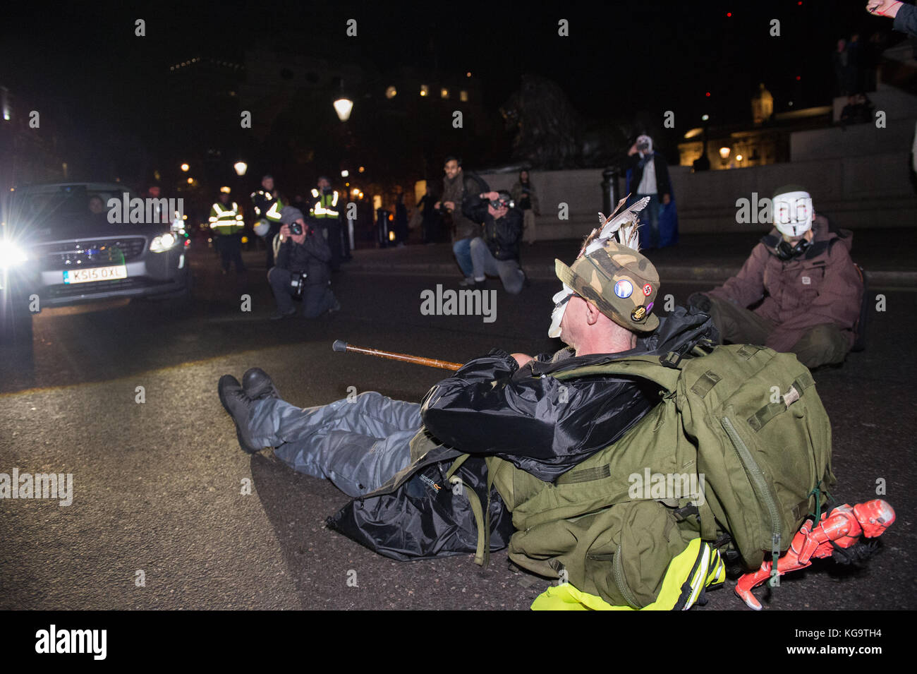 London, United Kingdom. 05th Nov, 2017. Million Mask March 2017 takes place in central London. Protesters block - Stock Image