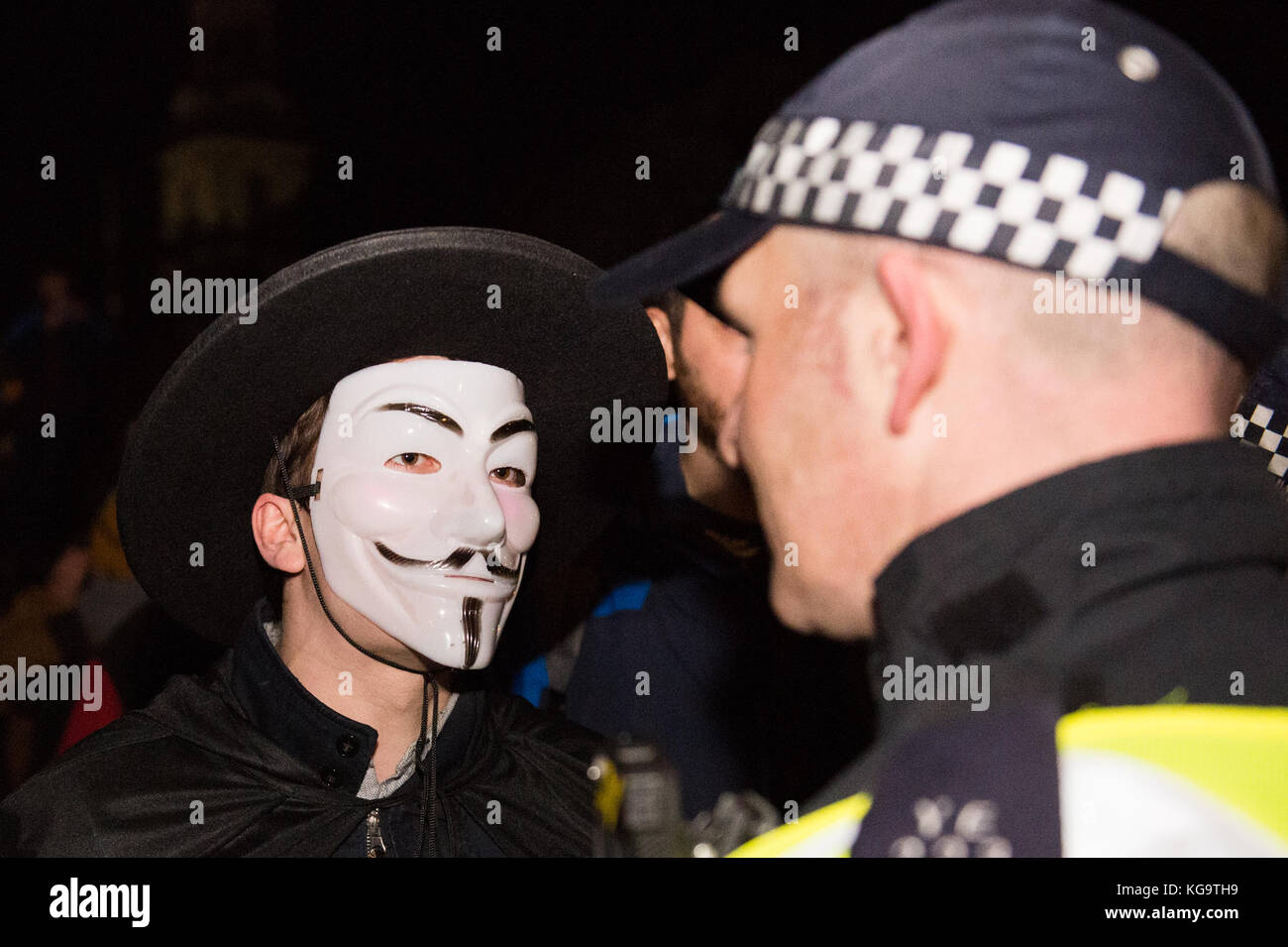 London, United Kingdom. 05th Nov, 2017. Million Mask March 2017 takes place in central London.A protester in a Guy - Stock Image