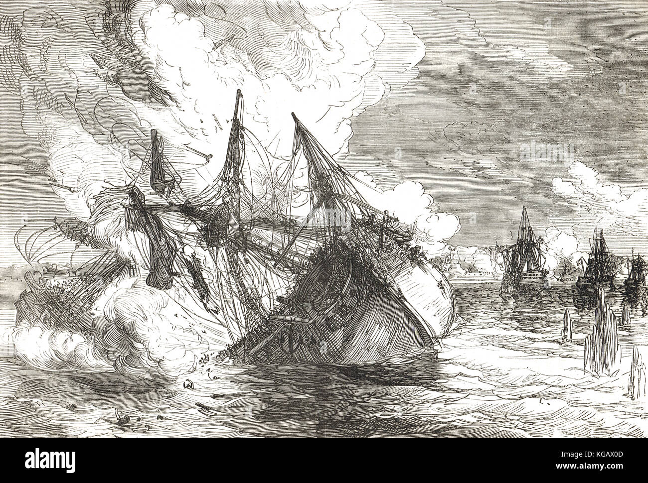Attack on Nova Colonia by East India Company Privateers, 6 January 1763 during the  Spanish-Portuguese War. The - Stock Image