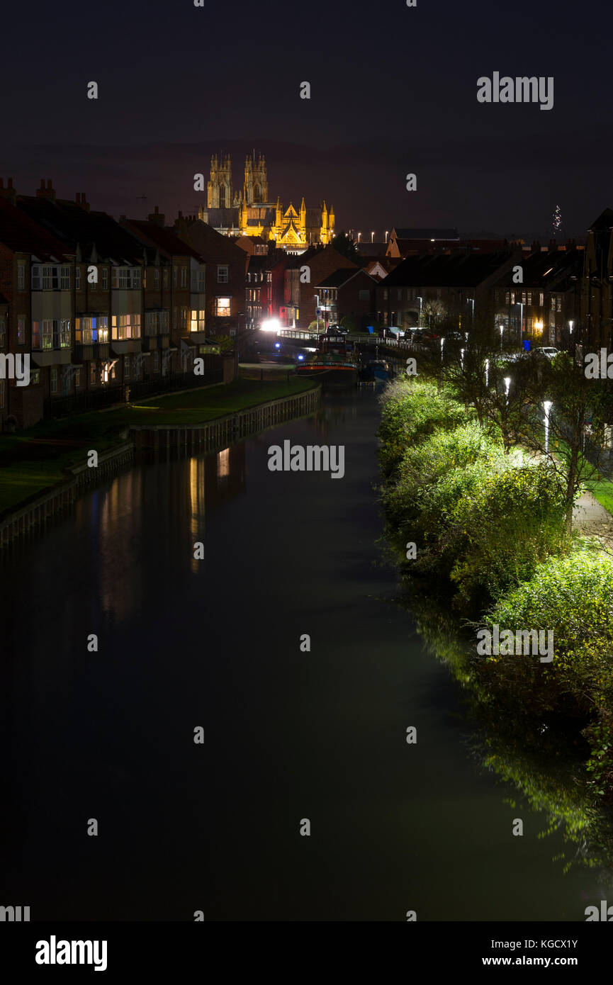 A night time view towards the illuminated Beverley Minster in the market town of Beverley, East Yorkshire - Stock Image