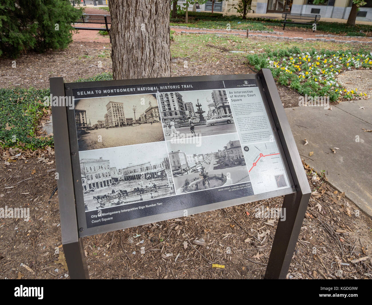Interpretive sign at Court Square, Montgomery Alabama, USA, showing the Selma to Montgomery National Historic Trail - Stock Image