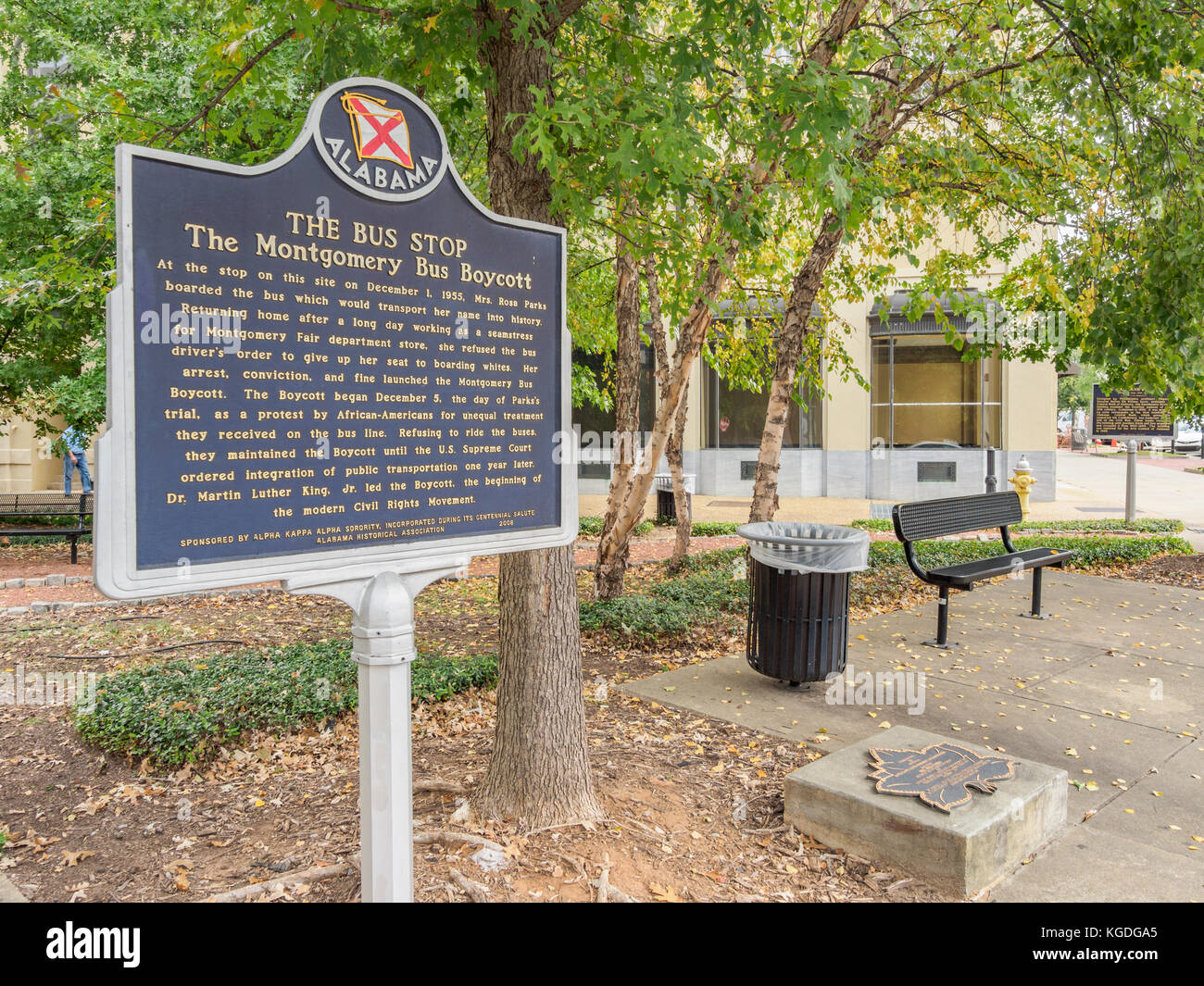 The Bus Stop historical marker at the bus stop location where Rosa Parks made history in 1955, Montgomery Alabama, - Stock Image