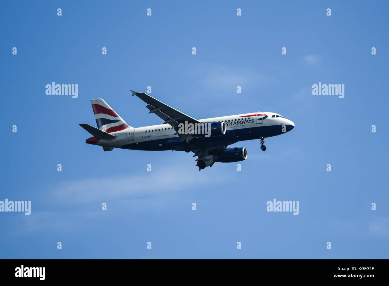 Bergen, Norway, 24 July 2017: British airways plane flying against the blue sky in Norway. - Stock Image