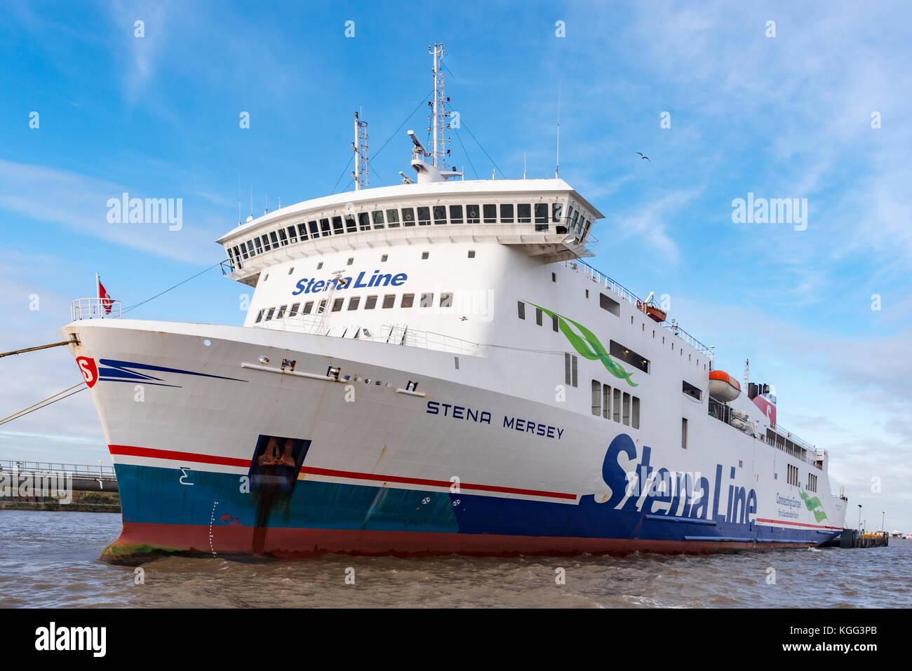 The ro-ro car ferry the Stena Mersey at the Twelve Quays terminal in Birkenhead. The ro-ro car ferry Stena Merseyat - Stock Image