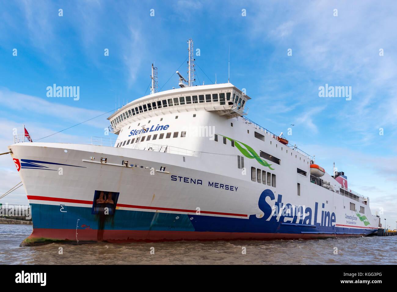 The ro-ro car ferry Stena Merseyat the Twelve Quays terminal in Birkenhead. - Stock Image