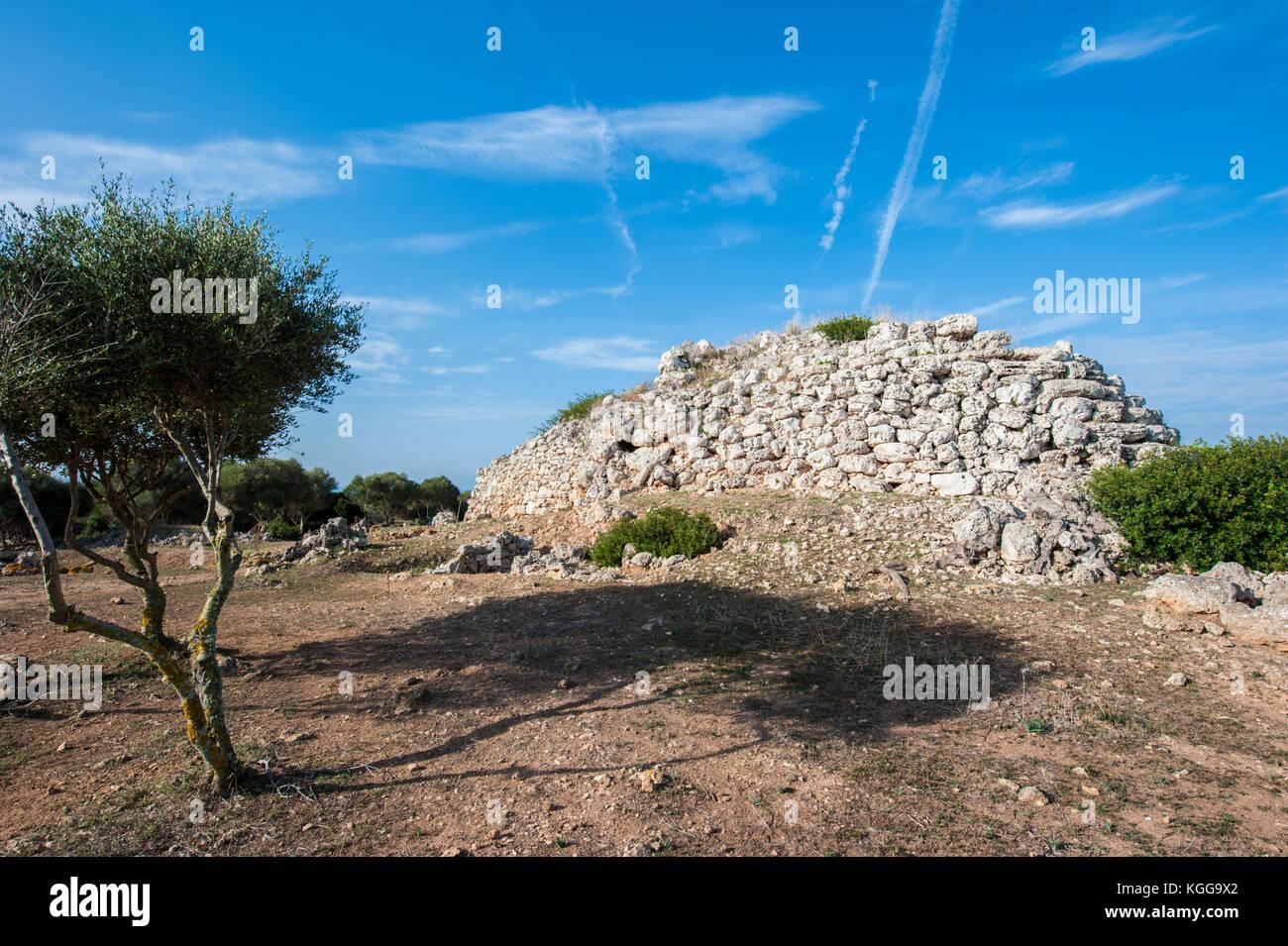 Talaiotic sanctuary complex in So na Cacana, Menorca, Balearic Islands, Spain, Mediterranean Sea. - Stock Image