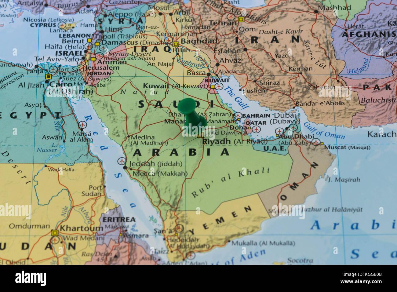 Riyadh pinned on a map of Saudi Arabia with a green pin, color of Saudi flag. - Stock Image