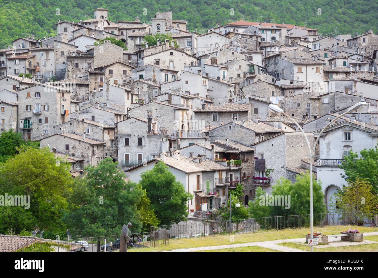 Scanno (L'Aquila, Italy) - Landscape of the little ancient town - Stock Image