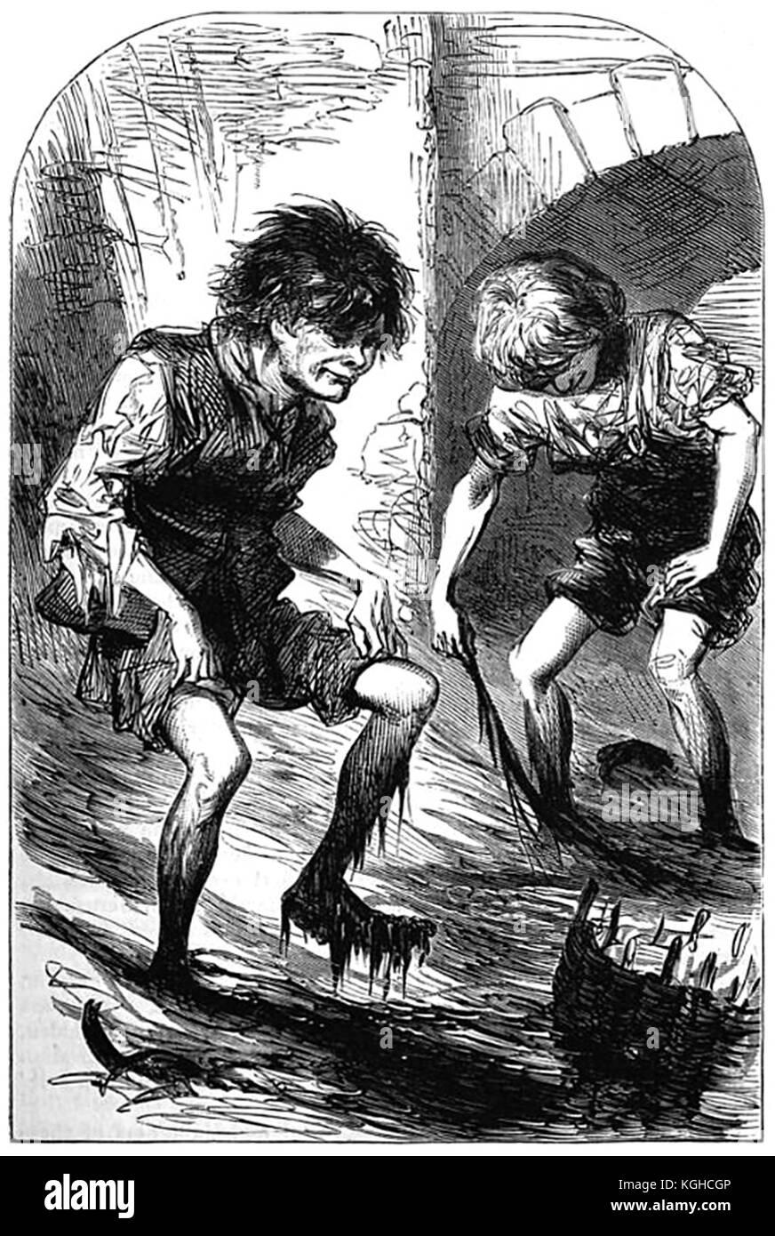 Mudlarks of Victorian London - Stock Image