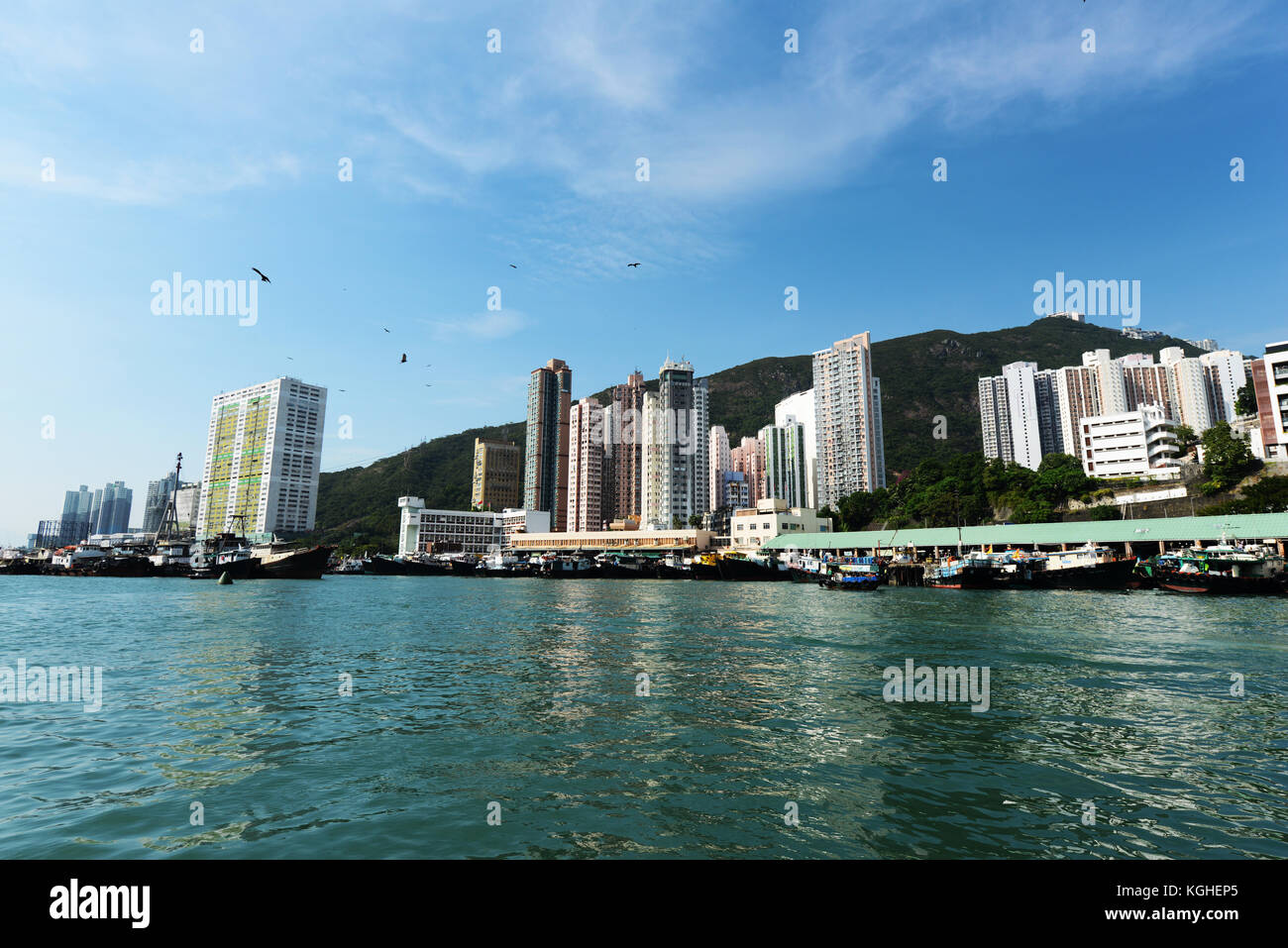 Aberdeen harbour in Hong Kong. - Stock Image