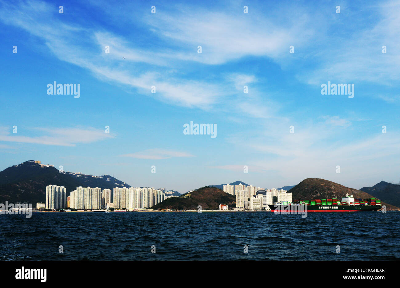 A scenic view of Ap Lei Chau island as seen from the East Lamma Channel. - Stock Image