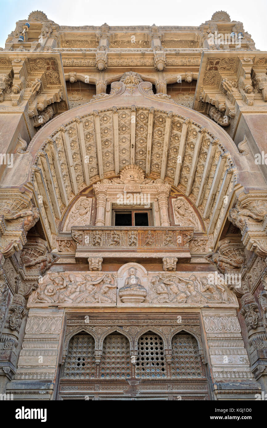 Low angled view of  external facade of Baron Empain Palace, Heliopolis district, Cairo, Egypt - Stock Image