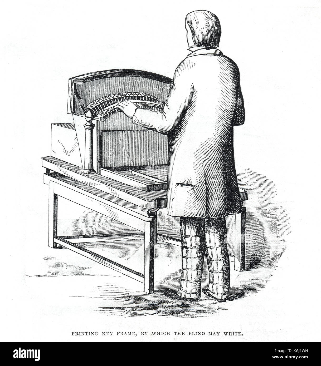 Printing key frame Foucault's Typewriter for the blind, Great Exhibition of 1851 - Stock Image