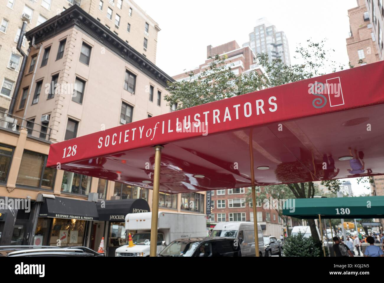Signage for the Society of Illustrators building, an art organization on the Upper East Side of Manhattan, New York - Stock Image
