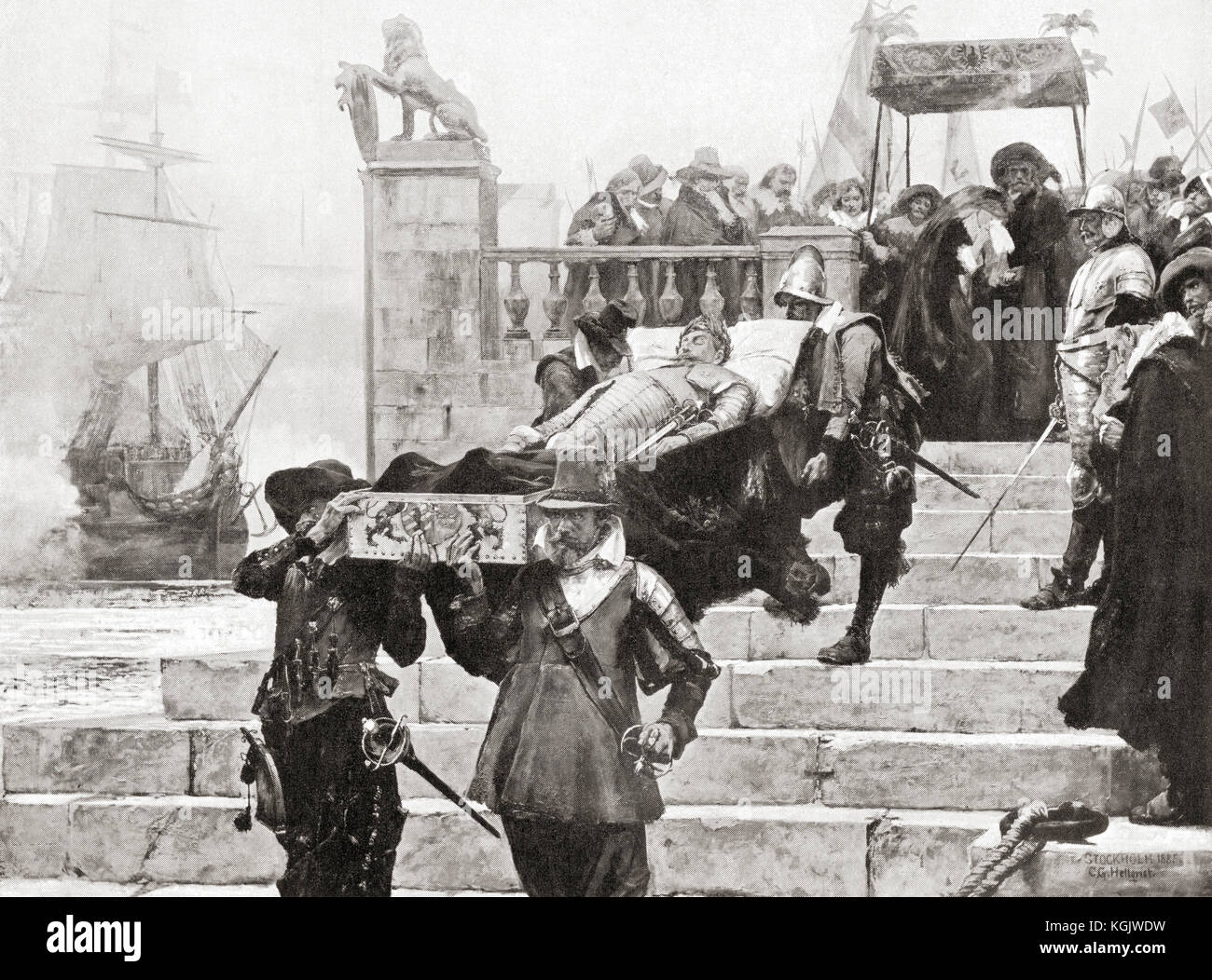 Conveying the body of Gustavus Adolphus to the ship at Wolgast for transfer to Sweden after his death at The Battle - Stock Image