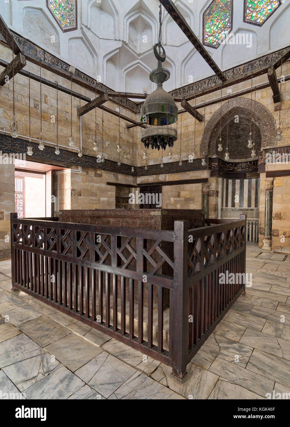 Interior of Mausoleum of al-Salih constructed by As-Saleh Nagm Ad-Din Ayyub in 1242-44, Al Muizz Street, Old Cairo, - Stock Image
