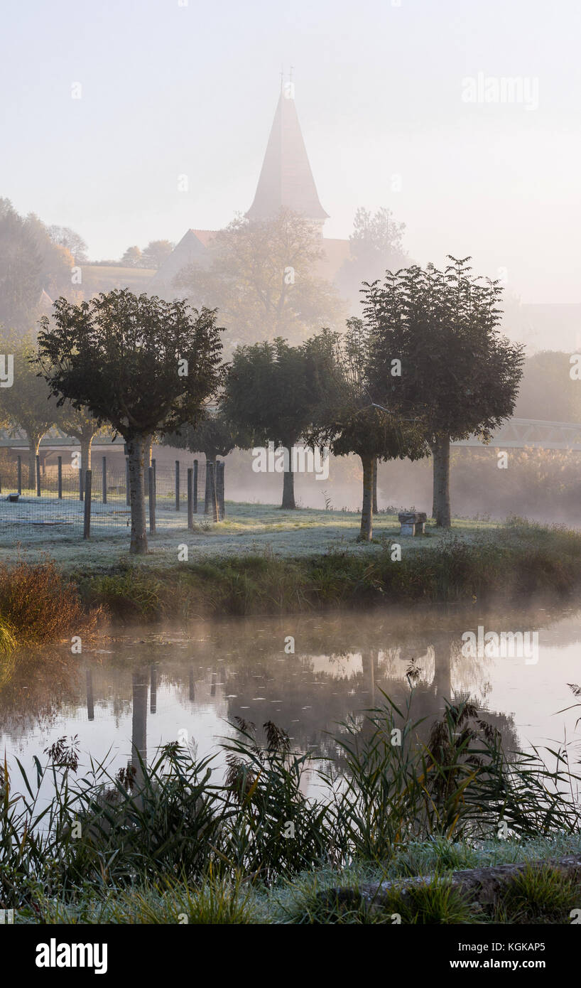 Morning mist over river Claise, France. - Stock Image