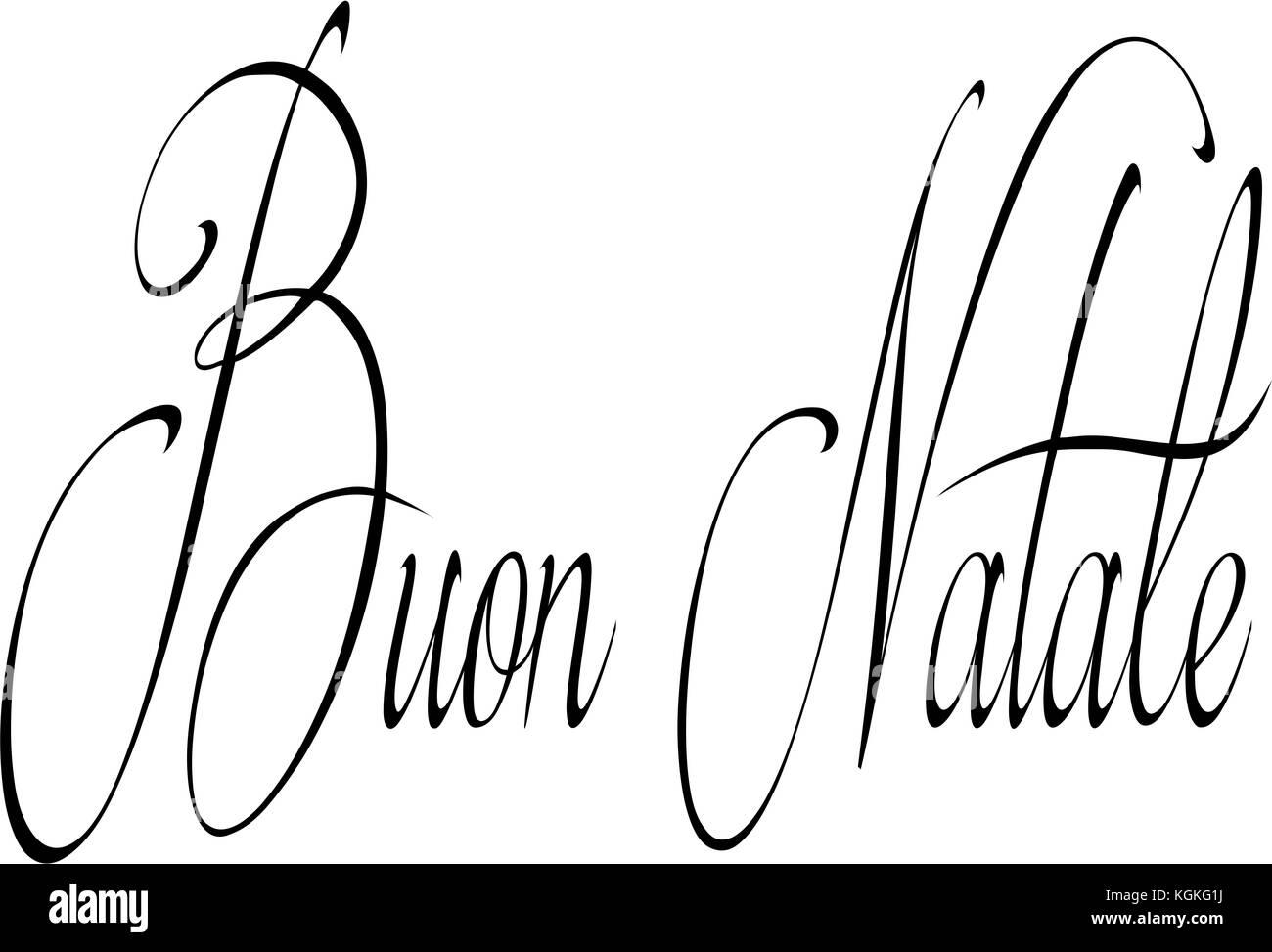 Merry Christmas writen in Italian written on a white Background - Stock Image