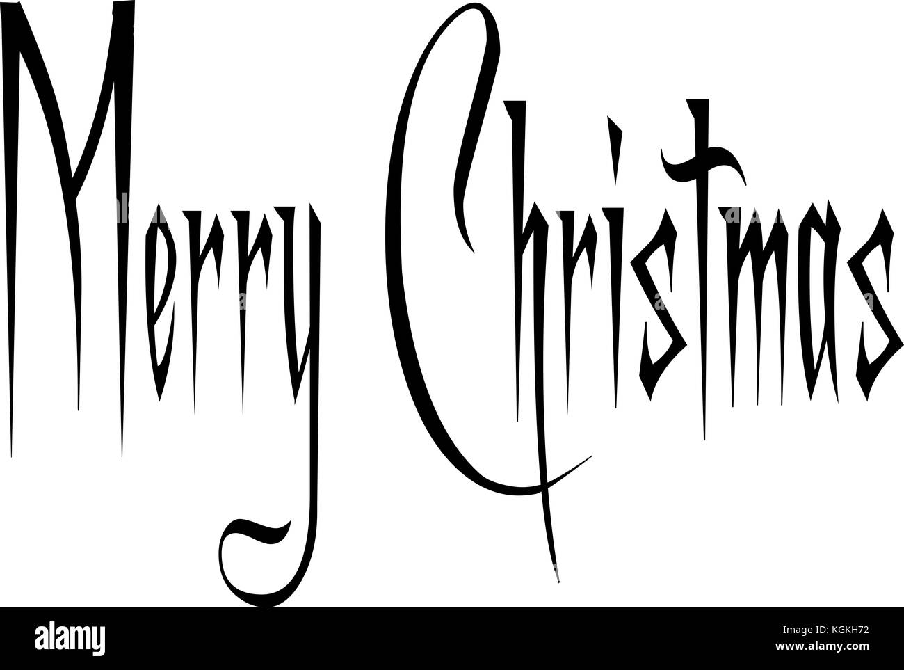 Merry Christmas text sign illustration writen in English on a white  Background - Stock Image