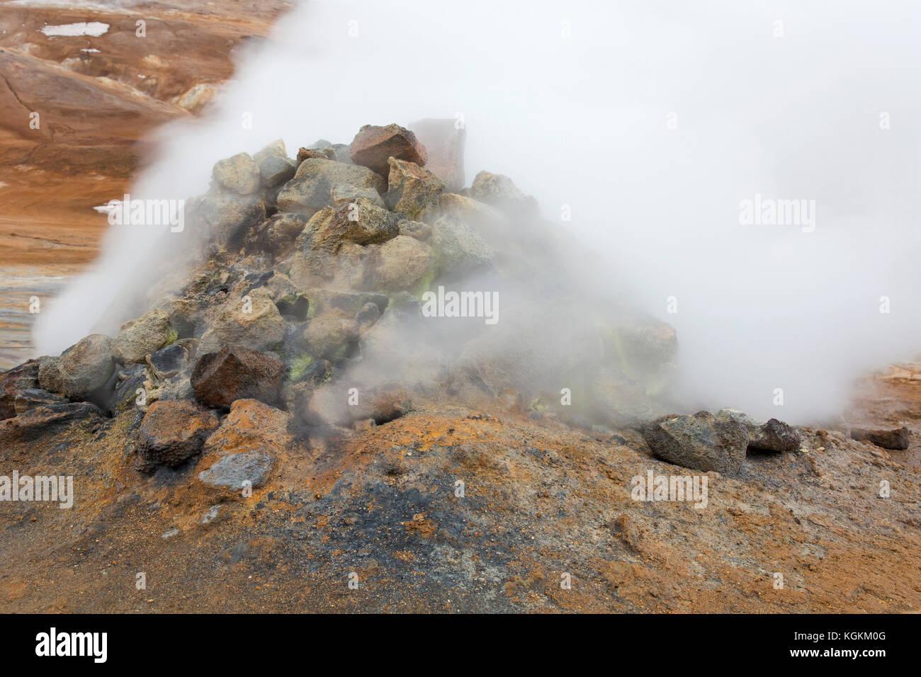 Steaming fumarole at Hverir, geothermal area near Námafjall, Norðurland eystra / Nordurland eystra, Iceland - Stock Image