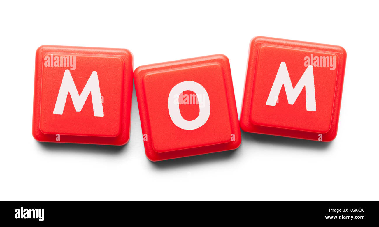Mom Spelled with Wood Tiles Isolated on a White Background. - Stock Image