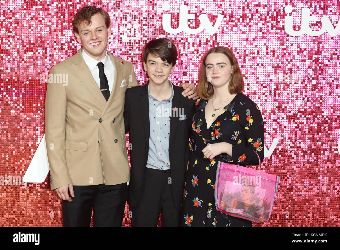 London, UK. 9th November, 2017. The Durrrells, Callum Woodhouse, Milo Parker, Daisy Waterstone, ITV GALA, London - Stock Image