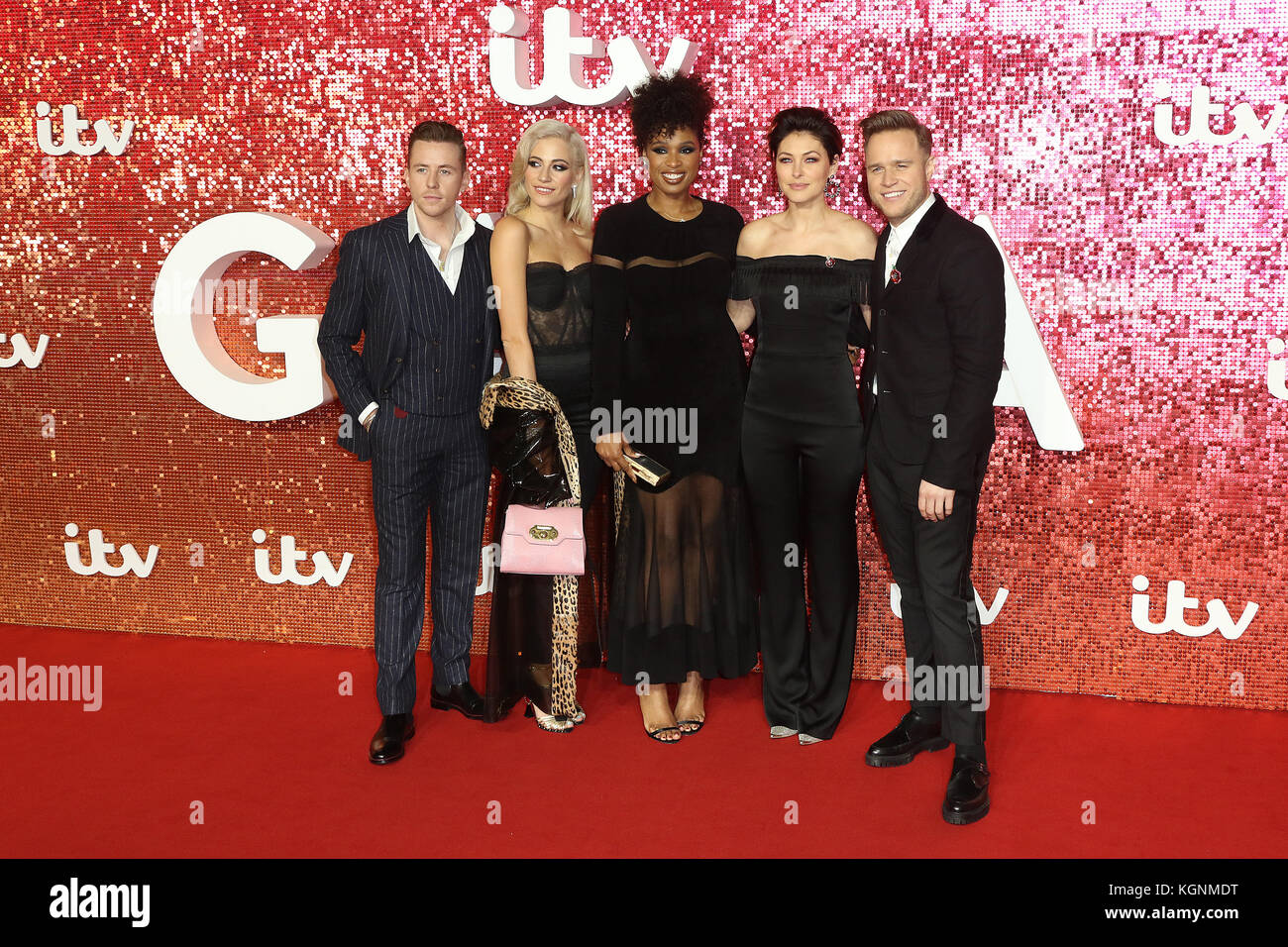 London, UK. 9th November, 2017. The Voice, Danny Jones, Pixie Lott, Jennifer Hudson, Emma Willis, Olly Murs, ITV - Stock Image