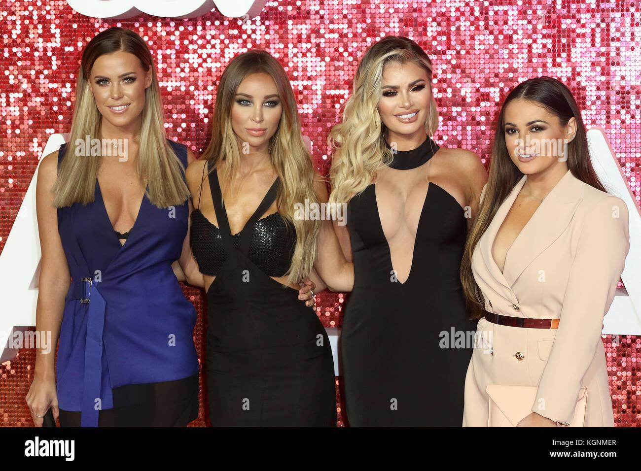 London, UK. 9th November, 2017. Towie, Chloe Meadows, Lauren Pope, Chloe Sims, Courtney Green, ITV GALA, London - Stock Image